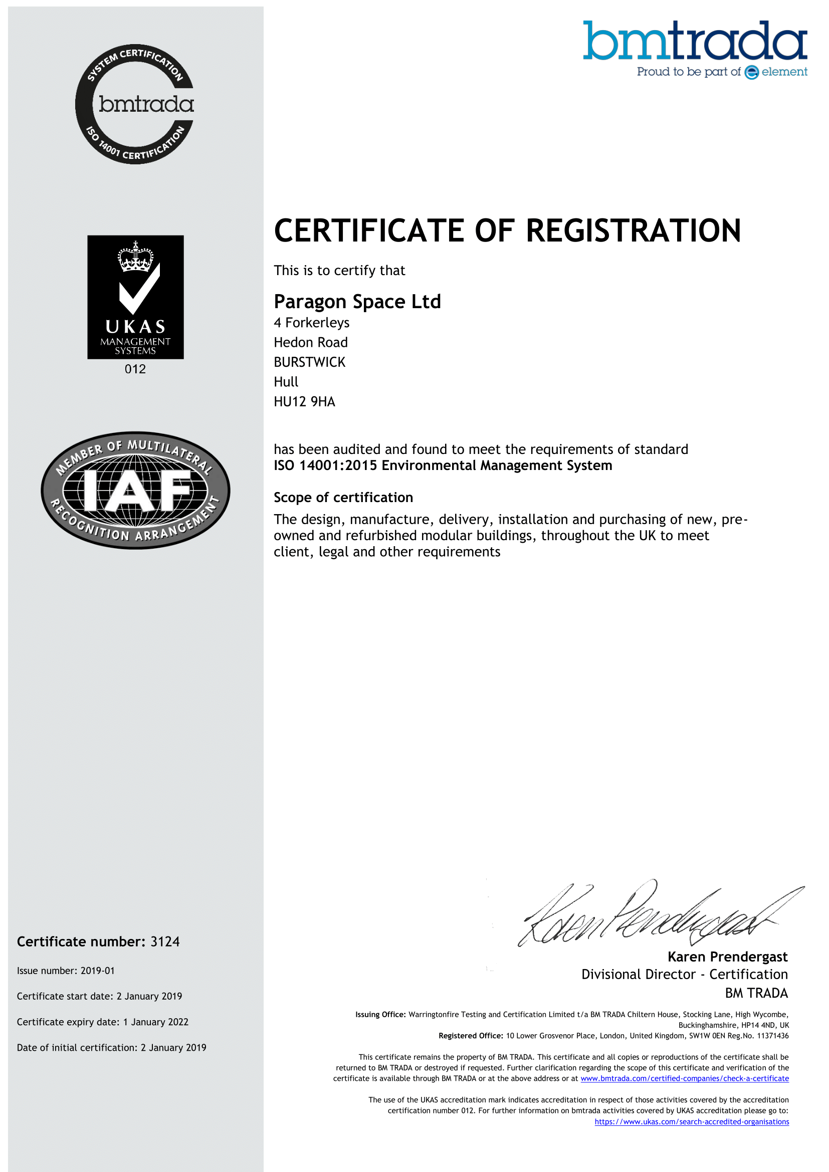 ISO14001:2015 EMS Certificate