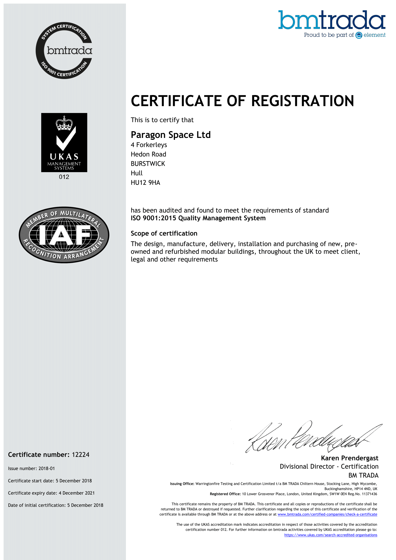 ISO9001:2015 QMS Certificate